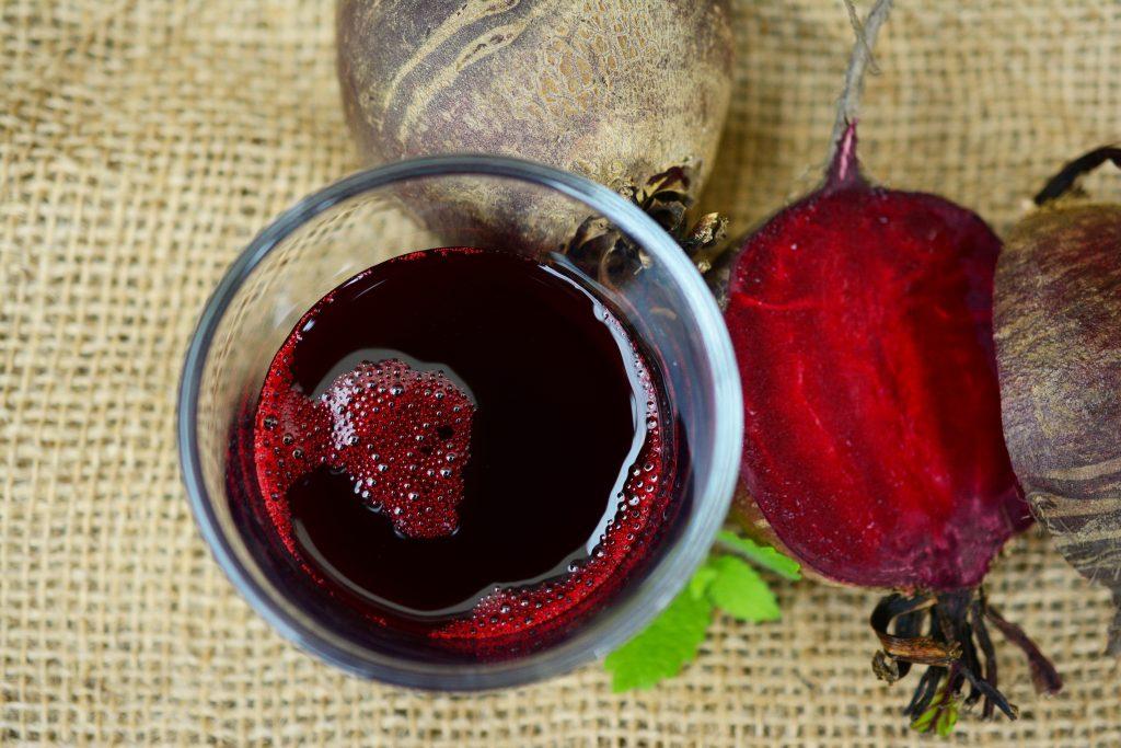 Beetroot juice and fresh beetroot