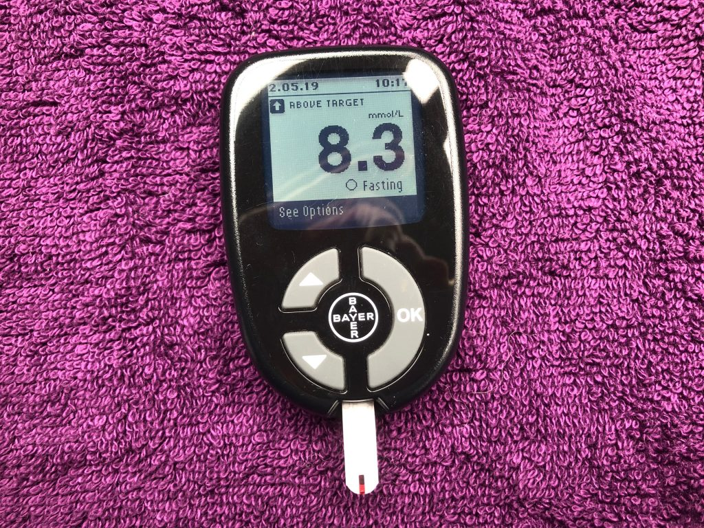 Blood glucose reading of 8.3